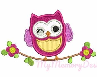 Owl embroidery design - Owl applique - Animal embroidery - Girl applique - Baby embroidery -Instant download - 4x4 5x7 6x10