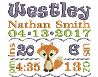 Birth Announcement Embroidery - Subway Art - Fox Birth Template - Machine embroidery - INSTANT DOWNLOAD - Digital file - 4x4 5x7 6x10 size