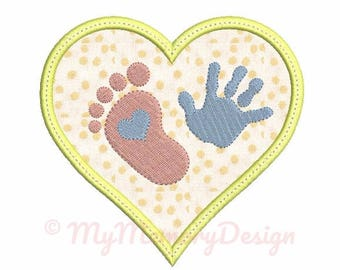 Baby embroidery design - Heart Applique Design - Baby feet and hand embroidery - Machine embroidery pattern - Instant download 4x4 5x7 6x10