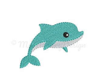 Dolphin embroidery - Mini embroidery design - Summer design - Machine embroidery digital file - pes hus jef vip vp3 xxx dst exp - 6 sizes