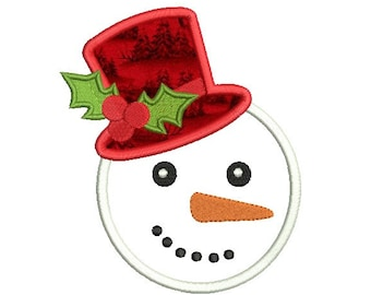 Boy Snowman Embroidery Design - Snowman applique design - Christmas embroidery pattern - Machine embroidery file - Instant download - 3 size