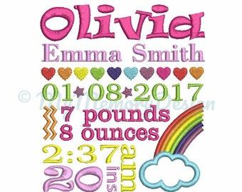 Rainbow Girl Baby Birth Announcement TEMPLATE Embroidery Design - Newborn Subway Art - Girl Birthday - INSTANT DOWNLOAD 4x4 5x7 6x10