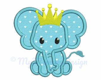 Elephant Applique Design - Crown embroidery - Baby embroidery - Machine embroidery digital file - pes hus jef vip vp3 xxx dst exp - 3 sizes