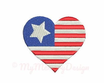 Heart embroidery design - Flag embroidery - Patriotic embroidery - Mini embroidery pattern - Machine embroidery - INSTANT DOWNLOAD - 6 SIZE