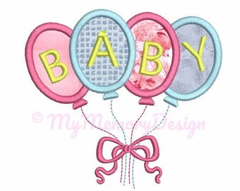 Baby embroidery - Balloon embroidery - Birthday Embroidery Design - Baby shower embroidery, Machine embroidery design , Ballon applique