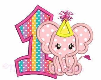 1st birthday embroidery, Birthday girl embroidery design, Elephant embroidery, Baby girl embroidery, First birthday - One embroidery