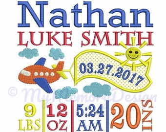 Custom Digitizing Baby Boy Birth Announcement Embroidery - Plane birthday embroidery - EMAIL DELIVERY 0-48 hour - NOT instant download