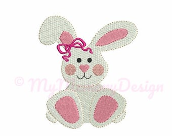 Fill Stitch Mini Girl Bunny Embroidery Design - Cute Easter Bunny - Baby Animal Design - Machine embroidery - INSTANT DOWNLOAD - 3 size