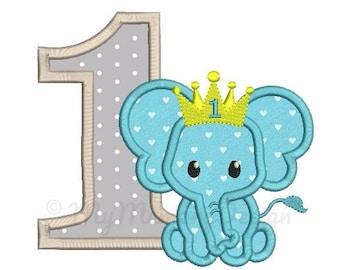 Elephant Embroidery Design - Elephant applique - Birthday applique - Machine embroidery file - pes hus jef vip vp3 xxx dst exp - 3 sizes