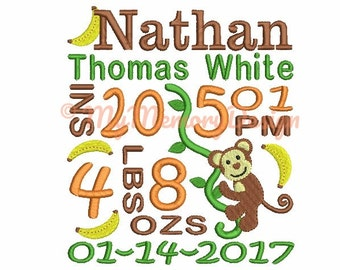Personalized Monkey Birth Announcement Embroidery Filled Stitch Design - Newborn embroidery - Baby embroidery - CUSTOM MADE - 4x4 5x7 6x10