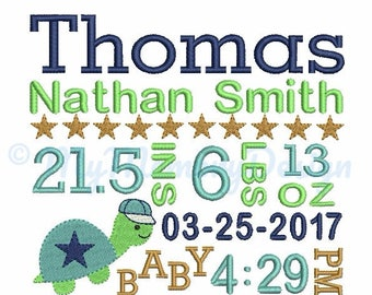 Birth Template Embroidery - Birth Announcement - Baby Boy Embroidery - Turtle embroidery - Machine embroidery INSTANT DOWNLOAD 4x4 5x7 6x10