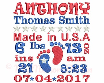 Baby feet embroidery - Subway art design - Patriotic embroidery - Baby birth announcement embroidery - Machine embroidery file  4x4 5x7 6x10