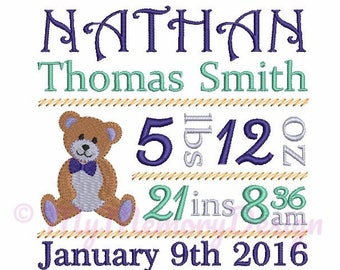 Embroidery Design - Custom Personalized Birth Announcement Embroidery - Baby embroidery - EMAIL DELIVERY 0-48 hour - NOT instant download