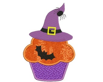 Halloween cupcake applique design - Machine embroidery design - Pumpkin embroidery - Witch hat embroidery - INSTANT DOWNLOAD - 4x4 5x7 6x10