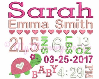 Turtle Baby Birth TEMPLATE Announcement Embroidery Design - Girl Subway Art - Birthday design - Machine embroidery - INSTANT DOWNLOAD 3 size