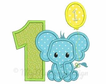 1st birthday applique design - Elephant  applique design - Birthday applique - Machine embroidery file - pes hus jef vip vp3 xxx dst exp