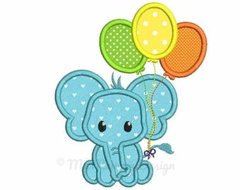 Elephant Applique Design - Birthday embroidery - Baby embroidery - Machine embroidery digital file - pes hus jef vip vp3 xxx dst exp 3 sizes
