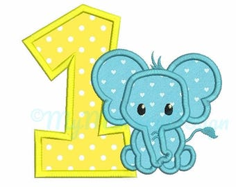 Birthday applique - Elephant applique design - 1st birthday design - Machine embroidery pattern - INSTANT DOWNLOAD - 4x4 5x7 6x10 sizes