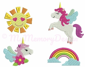 Unicorn Set Embroidery Design - Mini Filled Stitch Machine Embroidery Pattern - Girl embroidery design - INSTANT DOWNLOAD