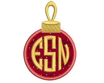 Embroidery Font Christmas Monogram Frame Embroidery Design - Christmas ball applique - Circle monogram frame - Machine embroidery - 3 size