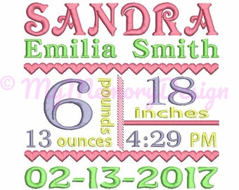 Custom embroidery,  Birth Announcement Embroidery , Machine Embroidery Design - Baby girl embroidery, EMAIL DELIVERY within 48 hour