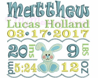 Boy Bunny Birth Template Announcement Embroidery Design - Baby Boy Birthday Embroidery - Machine embroidery design - Instant download 3 size