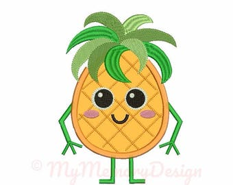 Summer applique design - Pineapple embroidery - Pineapple applique - Machine embroidery file - pes hus jef vip vp3 xxx dst exp 3 sizes