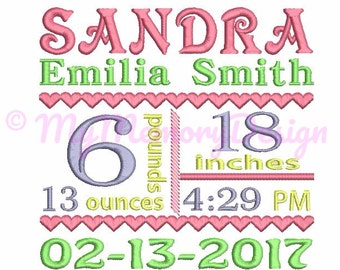 Birth Announcement Template Embroidery Design , Baby Birth Template Machine Embroidery , Baby birthday embroidery , INSTANT DOWNLOAD 3 SIZE