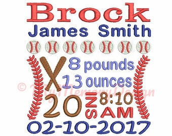 Custom Birth Announcement Embroidery - Baby boy embroidery design - Baseball embroidery - EMAIL DELIVERY 0-48 hour - NOT instant download
