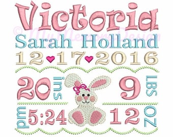 Easter Embroidery Design - Baby Birth Template Announcement Embroidery - INSTANT DOWNLOAD - 4x4 5x7 6x10 size - Baby Girl Birthday Design