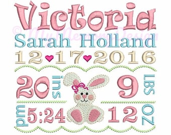 Custom Embroidery Baby Girl Birth Announcement Embroidery - Baby embroidery - EMAIL DELIVERY 0-48 hour - NOT instant downlaod
