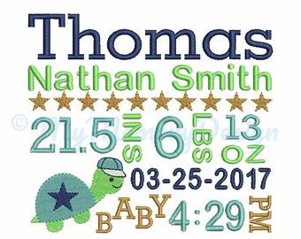 Birth Announcement Embroidery Design,  Baby boy embroidery, Baby embroidery, Personalized embroidery design, Turtle design ,Baby shower gift