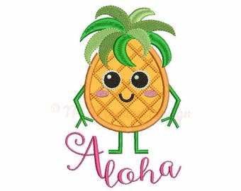 Pineapple applique design - Pineapple embroidery - Summer design - Machine embroidery file - pes hus jef vip vp3 xxx dst exp 3 sizes