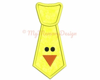 Easter Applique Design - Easter embroidery - Chick Tie applique design - digital machine  embroidery file - INSTANT DOWNLOAD 4x4 5x7 6x10