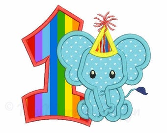 First birthday embroidery design - Elephant applique - Baby embroidery pattern -  Machine embroidery file - 4x4 5x7 6x10 INSTANT DOWNLOAD