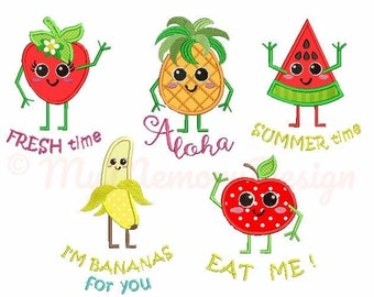 Summer embroidery designs - Fruit applique set - Pineapple embroidery, Apple embroidery, Watermelon embroidery, Strawberry, INSTANT DOWNLOAD