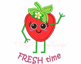 Strawberry applique design - Strawberry embroidery - Saying design - Machine embroidery file - pes hus jef vip vp3 xxx dst exp 3 sizes