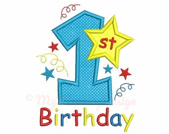 Birthday embroidery design, Embroidery design, Machine embroidery, Birthday applique, Boy embroidery, Baby embroidery, 1st birthday