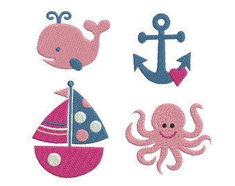 Nautical Embroidery Design - SET of 4 - Sailboat - Anchor - Whale - Octopus - Summer - Mini design - Machine embroidery - INSTANT DOWNLOAD