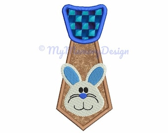 Easter Embroidery - Easter Bunny Tie Applique Design - Bunny embroidery - Baby boy embroidery - Machine embroidery INSTANT DOWNLOAD 3 size