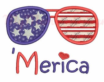 Sunglasses embroidery - Sunglasses applique design - Patriotic embroidery - Machine embroidery - Instant download - 4x4 5x7 6x10 size