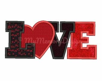 Love embroidery design - Valentine applique -Heart applique - Machine embroidery instant download file - 4x4 5x7 6x10 size