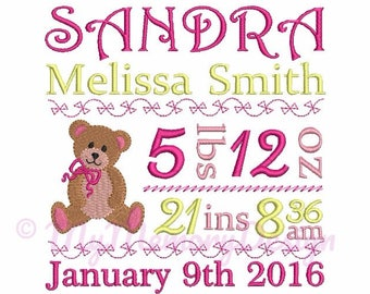 Embroidery Design Baby Birth TEMPLATE  Announcement - Subway Art  Design - Newborn embroidery - INSTANT DOOWNLOAD - 4x4 5x7 6x10 size