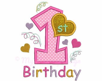 Birthday embroidery design - First birthday embroidery - Baby girl birthday - Machine embroidery design INSTANT DOWNLOAD 4x4 5x7 6x10 sizes