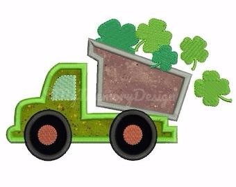 St. Patrick's Applique Design - St Patrick's Embroidery - Dump Truck Applique - Machine embroidery Instant download 4x4 5x7 6x10 size