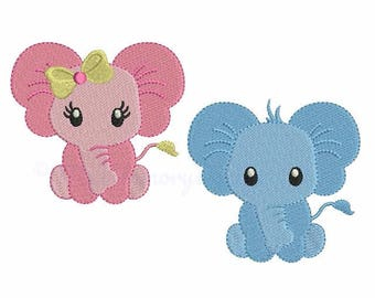 Elephant Machine Embroidery Design - Baby Embroidery Set -  INSTANT DOWNLOAD - pes hus jef vip vp3 xxx dst exp - 6 sizes