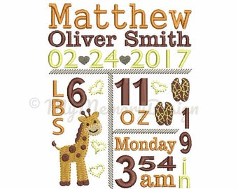 Birth Announcement Template Embroidery - Baby Birth Subway Art Template - Giraffe design - Machine embroidery - Instant download - 3 size