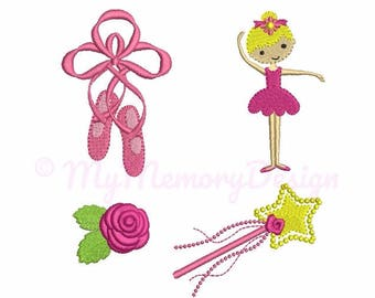 Ballet embroidery design - Mini embroidery set - Machine embroidery - Digital File - Instant download - pes hus jef vip vp3 xxx dst exp