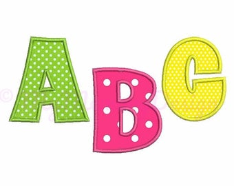 """Applique font Embroidery Design - Machine embroidery font - INSTANT DOWNLOAD - 3"""" 4"""" 5"""" sizes pes hus jef vip vp3 xxx dst exp"""