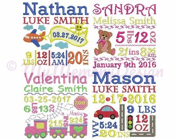 Set of 4 - Birth TEMPLATE Announcement Embroidery Design - Baby embroidery design - Machine embroidery pattern - INSTANT DOWNLOAD - 3 size